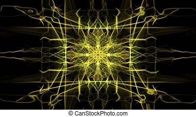 Yellow animated rectangle fractal ornament on black background. Rays of energy in convergent motion
