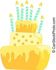 Yellow anniversary cake with candles decorations in light pastel colors. EPS10