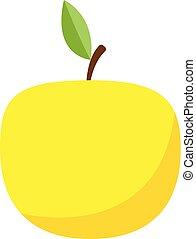 Yellow apple icon, flat style
