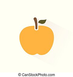 Yellow apple icon with shadow. Flat vector illustration