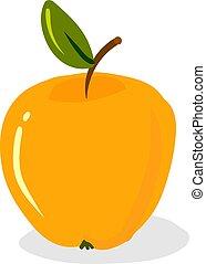 Yellow apple, illustration, vector on white background.