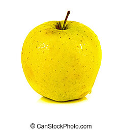 Yellow apple isolated over white background