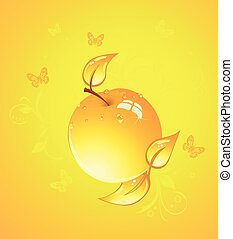 Yellow apple, vector illustration