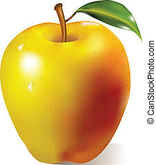Yellow apple with green leaf