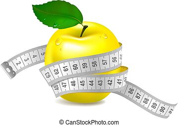 Yellow apple with measuring tape