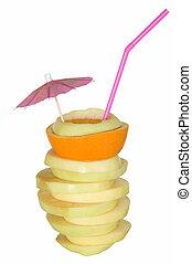 Yellow apple with one orange fruit slice like cocktail
