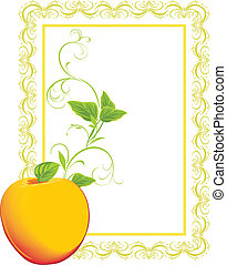 Yellow apple with sprig. Frame