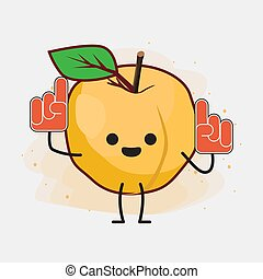 Yellow Apricot Fruit Cute Vector Character