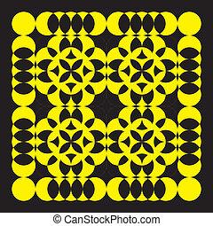 Yellow arabesque on black background