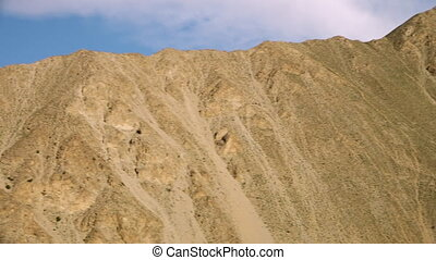 Yellow argil hills in nature - A panning, low angle, medium...