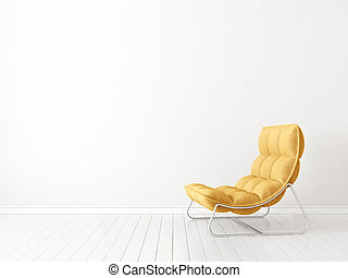 yellow armchair in empty room. 3d illustration