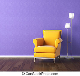 yellow armchair on violet wall