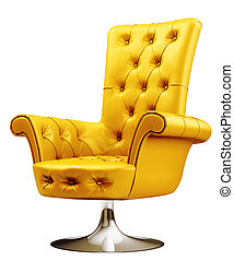 Yellow armchair with clipping path 3d - Yellow office chair...