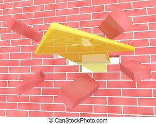Yellow arrow breaking brick wall