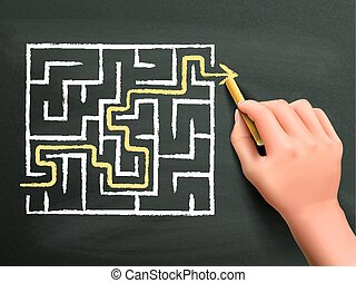 yellow arrow going through a maze drawn by hand isolated on...