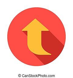Yellow arrow icon, flat style