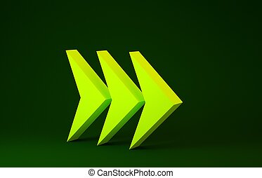 Yellow Arrow icon isolated on green background. Direction Arrowhead symbol. Navigation pointer sign. Minimalism concept. 3d illustration 3D render