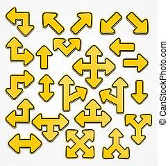 yellow arrow sign vector
