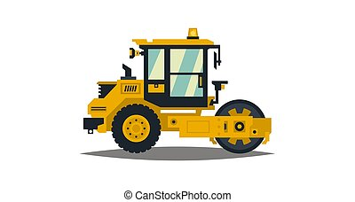 Yellow asphalt compactor isolated on white background. Construction machinery. Special equipment. Road repair. Vector illustration. Flat style