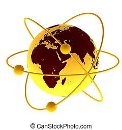 Yellow atom symbol with a globe