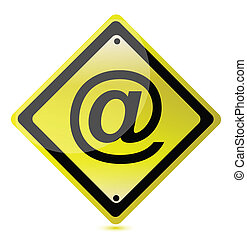 yellow att sign illustration design over a white background
