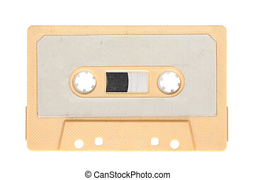 Yellow audio cassette isolated on background