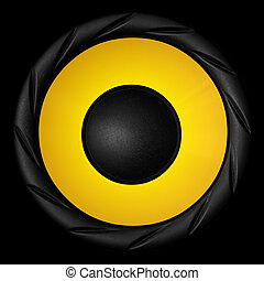 Yellow audio speaker isolated on black background