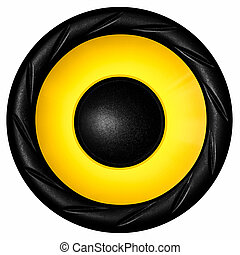 Yellow audio speaker