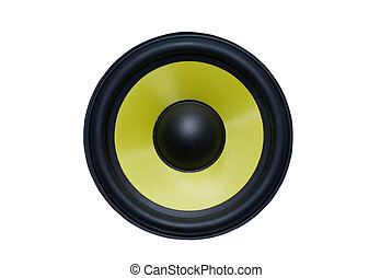Yellow audio speaker isolated on white background.