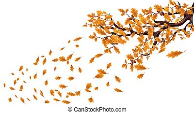 Yellow autumn branch of a large oak tree with acorns. Fly over the leaves and whirl in the wind. illustration