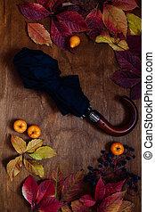 yellow autumn leaves and a black umbrella against the rain