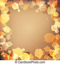 Yellow autumn leaves on brown background