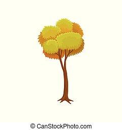 Yellow autumn tree vector Illustration on a white background