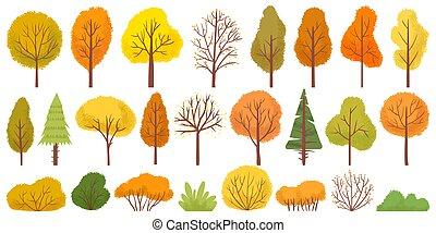 Yellow autumn trees. Colorful garden tree, autumnal garden bush and fall season tree leaves vector illustration set