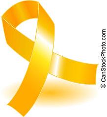 Yellow awareness ribbon and shadow - Yellow awareness ribbon...