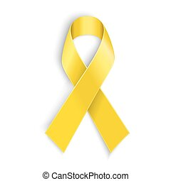 Yellow awareness ribbon on white background.