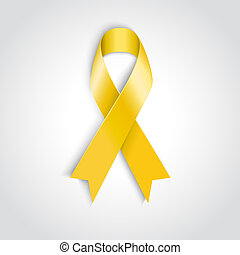 Yellow awareness ribbon on white background. - Vector Yellow...