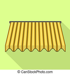 Yellow awning icon, flat style