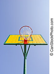 yellow backboard on sky background