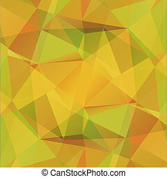 Abstract polygonal background with yellow and green triangles.