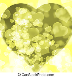 Yellow background blurred lights heart