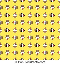 Yellow background cupcake seamless pattern