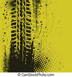 Yellow background - Set of four dirty tire tracks