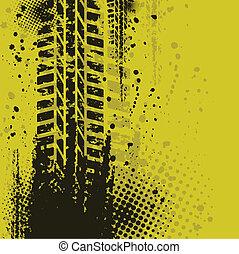Set of four dirty tire tracks
