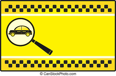 visiting card with cab and magnifie