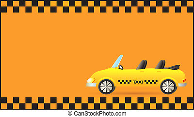 visiting card with taxi car cabriol