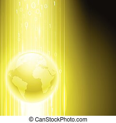 Yellow background with binary code to the globe.