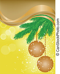 Yellow background with brown ribbon