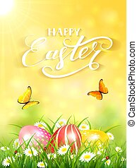 Yellow background with butterflies and three Easter eggs in grass