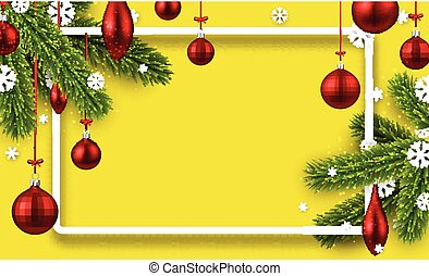 Yellow background with colorful Christmas balls.